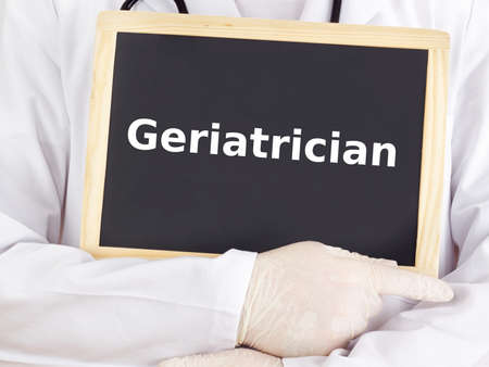 geriatrician: Doctor shows information on blackboard: geriatrician