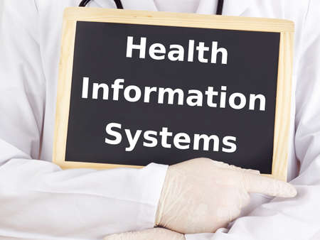 Doctor shows information: health information systems photo