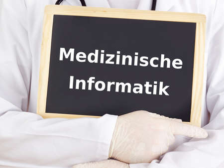 Doctor shows information: health informatics photo
