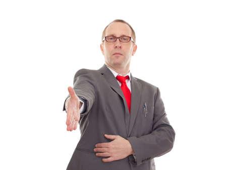 Businessman greeting somebody