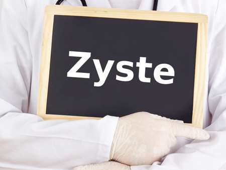 cyst: Doctor shows information on blackboard: cyst