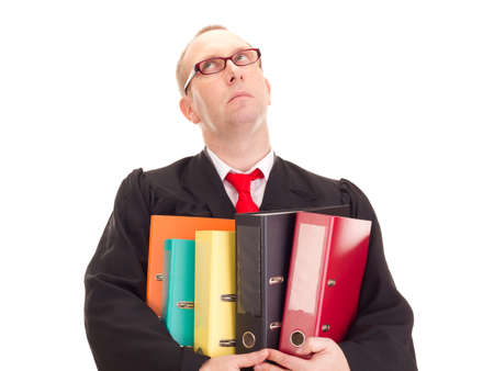 disposer: Lawyer with a lot of work Stock Photo