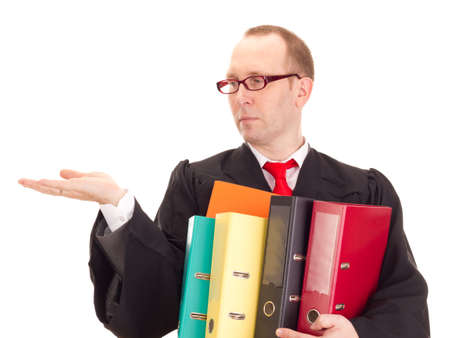 statute: Lawyer with a lot of work Stock Photo
