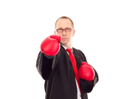 Lawyer with boxing gloves photo