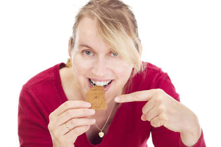 Person eating delicate speculoos photo