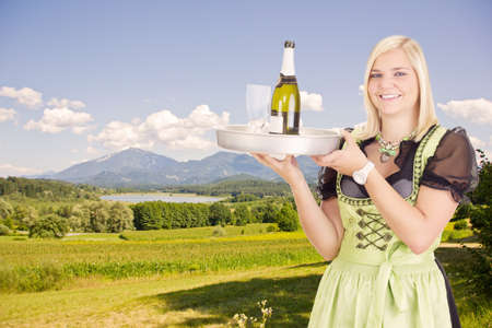 dirndl: Young waitress with tray