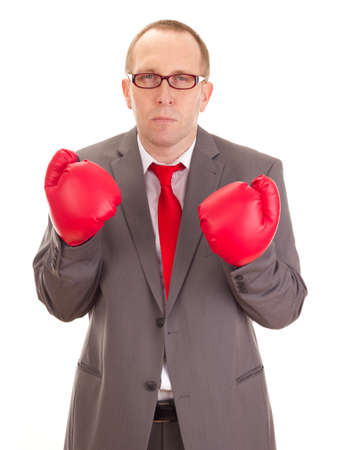 Business person with boxing gloves