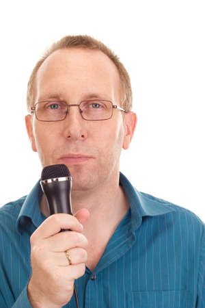 Business person with microphone Stock Photo - 16524073