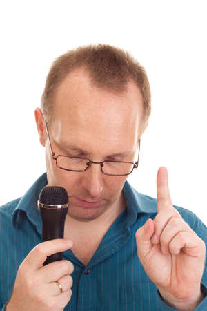 Business person with microphone
