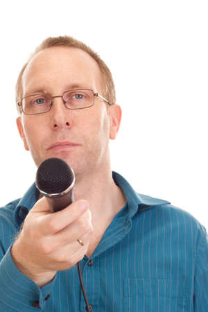 Business person with microphone photo