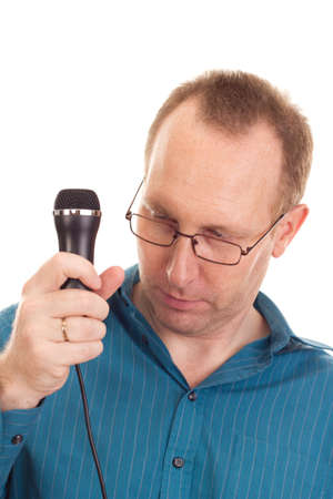 Business person with microphone Stock Photo - 16524068