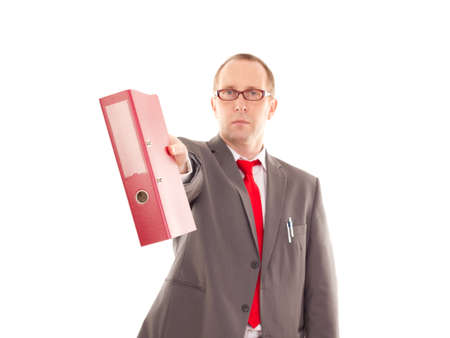 disposer: Businessman with ring binder Stock Photo