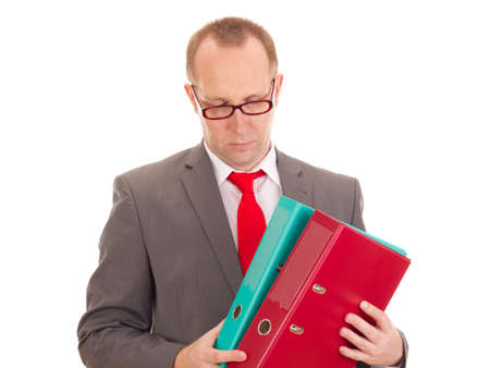Businessman with ring binder Stock Photo - 16567543