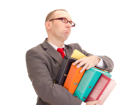 Businessman with ring binder Stock Photo
