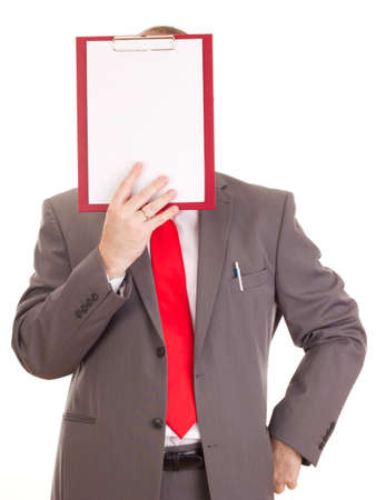 independent financial adviser: Businessman with clipboard Stock Photo