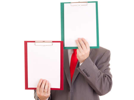independent financial adviser: Businessman with clipboards