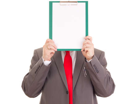 agency agreement: Businessman with clipboard Stock Photo