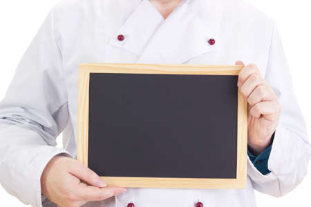 Chef with blackboard photo