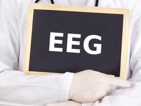 Doctor shows information on blackboard: EEG