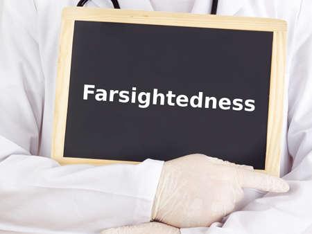 hyperopia: Doctor shows information: farsightedness Stock Photo