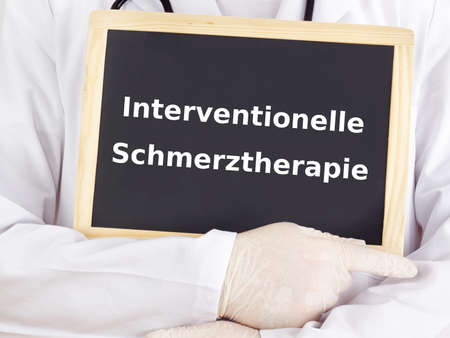pain management: Doctor shows information: interventional pain management