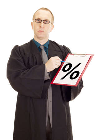 Lawyer showing something on clipboard Stock Photo