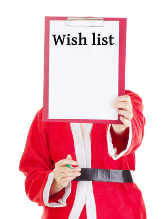 Female santa showing something on clipboard Stock Photo - 16752316