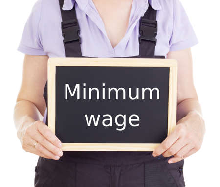 bib overall: Craftsperson with blackboard: minimum wage