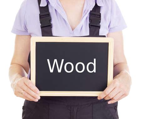 bib overall: Craftsperson with blackboard: wood