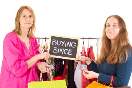 shopping binge: People on shopping tour: buying binge