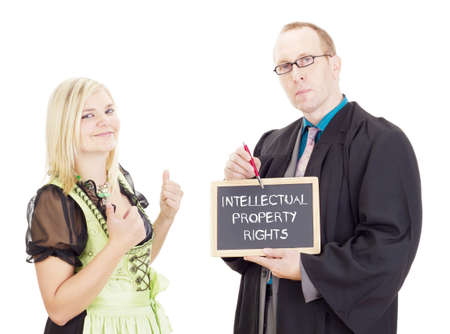 property rights: Young woman needs help: intellectual property rights Stock Photo