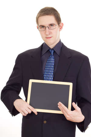 independent financial adviser: Young businessman with blackboard