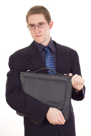 independent financial adviser: Young businessman with briefcase