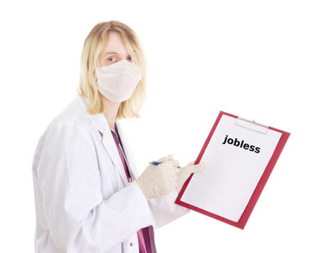 jobless: Medical doctor with clipboard: jobless
