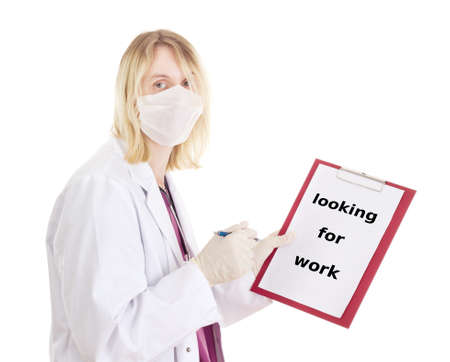 jobholder: Medical doctor with clipboard: looking for work