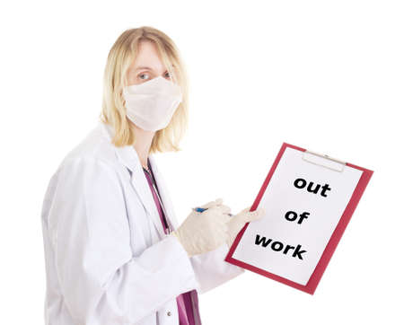 jobholder: Medical doctor with clipboard: out of work