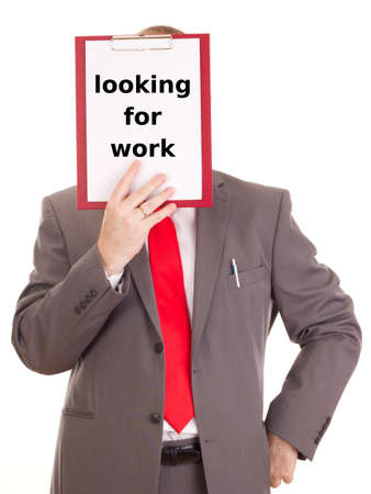 Businessman with clipboard: looking for work photo