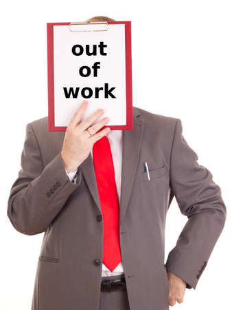 Businessman with clipboard: out of work photo