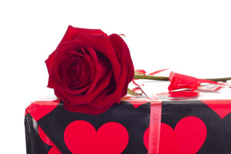 Beautiful rose with gift photo