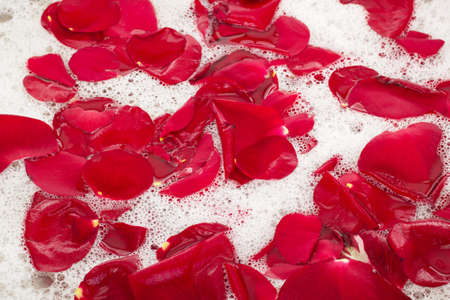 perfumery concept: Bath water with rose petals Stock Photo