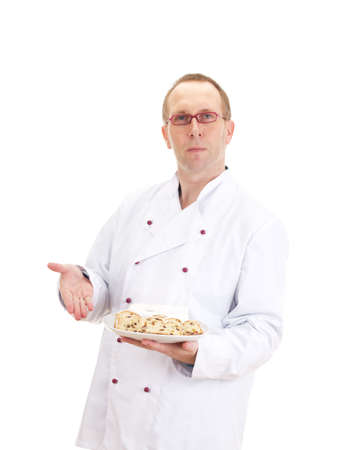 Baker presenting stollen Stock Photo - 17414613