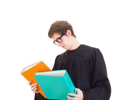Young attorney with a lot of work Stock Photo - 17455388