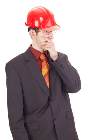 Young businessman with hard hat photo