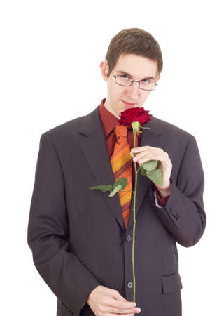 Young man with a rose photo