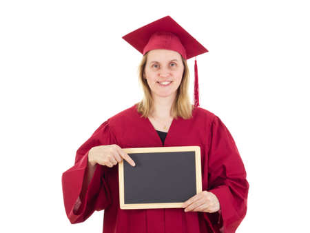 collegian: Female student with blackboard