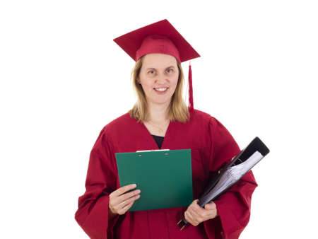 collegian: Female student with documents