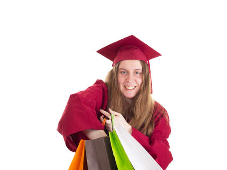 extramural: Female student with shopping bags