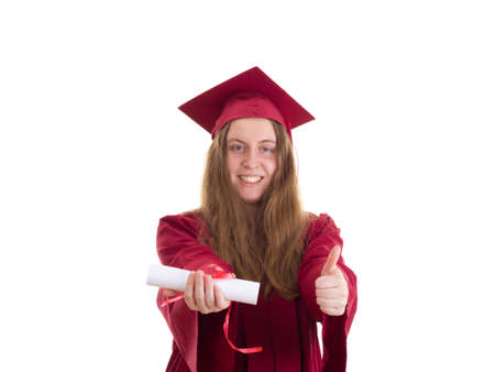 extramural: Female student with diploma Stock Photo