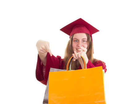 collegian: Female student with bags