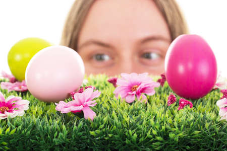 Girl finding some easter eggs photo